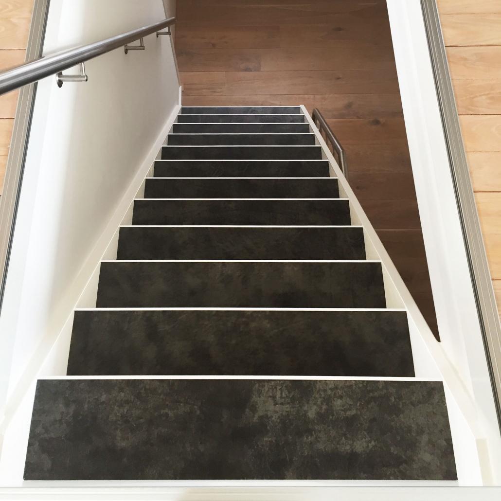 leren trapbekleding boven aanzicht Graphite